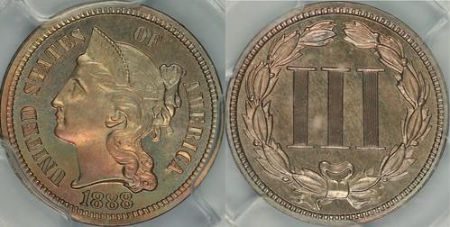 1888 3 C Nickel PCGS PR65 CAC