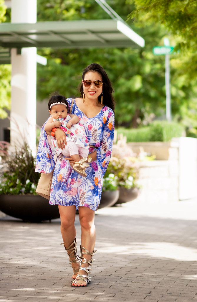 cute & little blog | petite fashion | pink blush tropical chiffon dress, bucket bag, gladiator sandals | summer outfit