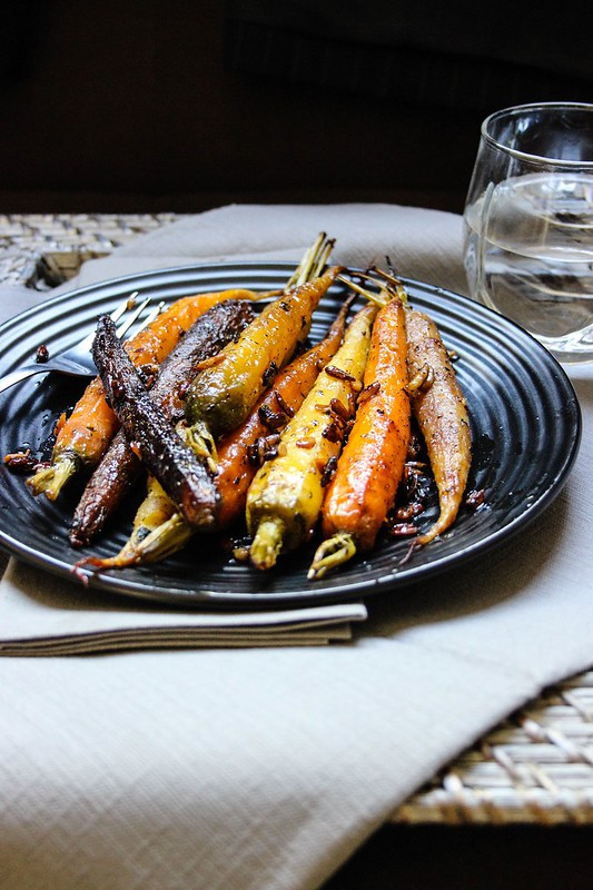 Roasted Heirloom Carrots with Olive Oil, Honey & Cilantro