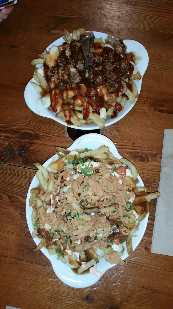 2015-Aug-6 Spud Shack large poutines - Squealer (top) and Night Market (bottom)