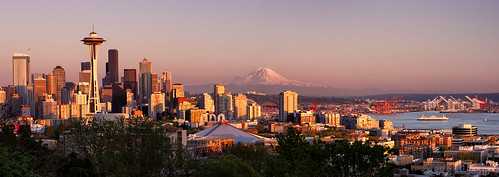seattle sunset panorama ferry skyline canon outdoors photography washington spring downtown cityscape waterfront northwest rainier pacificnorthwest spaceneedle pugetsound kerrypark mtrainier goldenhour 2013 michaelriffle
