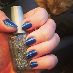 Amtrak to New York tomorrow, so it's a color called Jet Set to Paris. Jeopardy blue! #nailsofinstagram