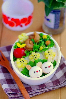 Quail egg bunny and potato flowers bento