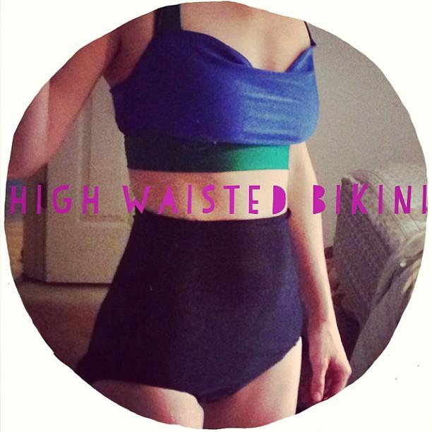 """My """"muslin"""" high waisted bikini... First sew, rough draft pattern. Feeling pretty good about myself... #ABeautifulMess #bikini"""