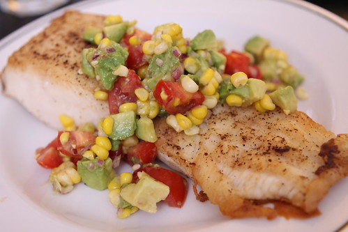 Pan Seared Paiche with Corn, Avocado, Tomato Salsa