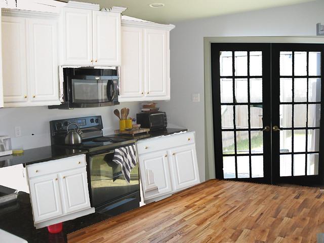 kitchen w black doors
