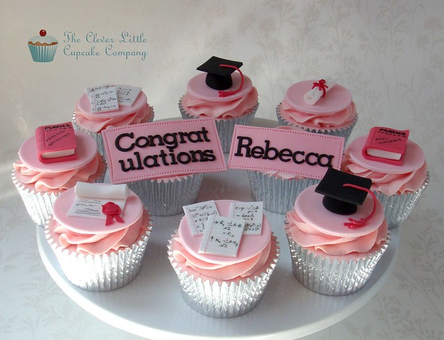 Pink graduation cupcakes for a maths graduate yay my de