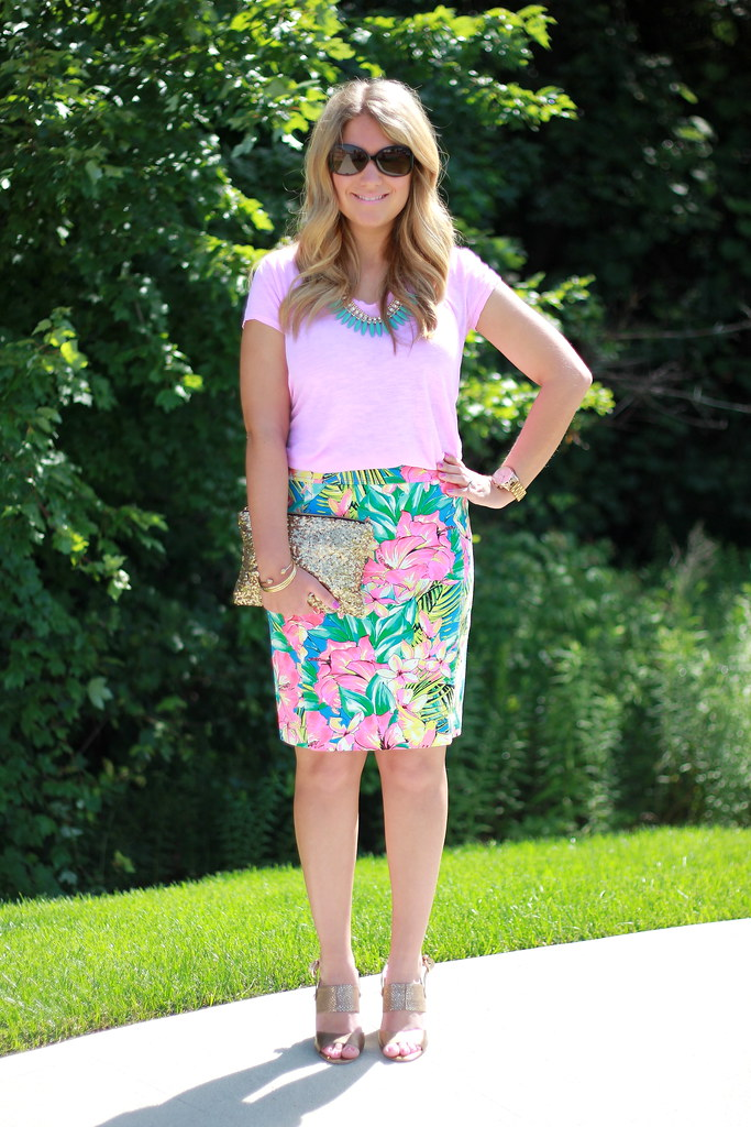 Loft Tropical Floral Print Skirt + Pink Tee Summer outfit