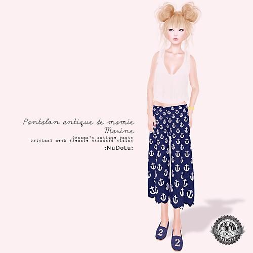 NuDoLu Pantalon antique de mamie Marine AD