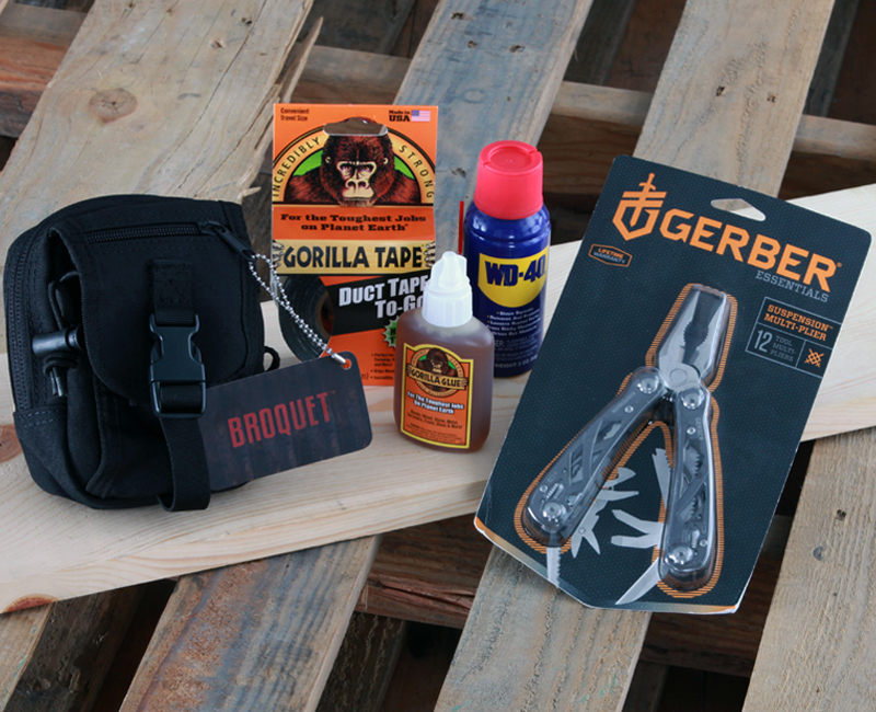 The tactical toolkit: gorilla duct tape, Gerber 12-function multi-tool, WD-40 for and Gorilla Glue