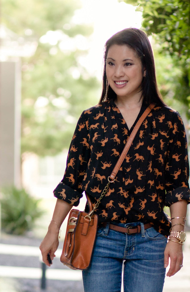 horse print shirt, gap premium always skinny jeans, bakers mustard suede pumps, melie bianco madison crossbody purse