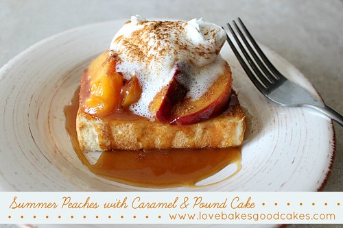 Summer Peaches with Caramel & Pound Cake on plate with fork.