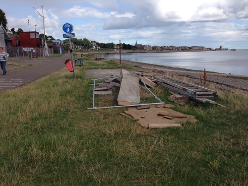 Building Materials Left on Grassy Beach in Broughty Ferry