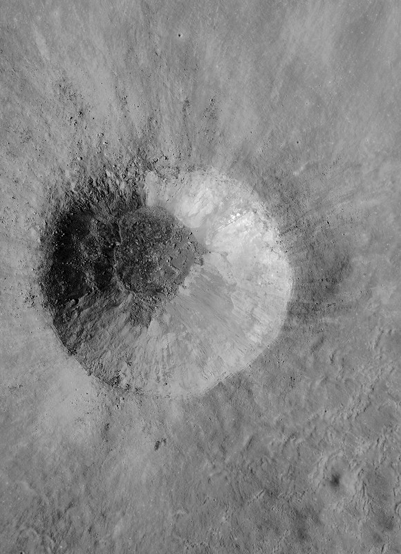 Fresh, unnamed crater in the farside Saenger crater group