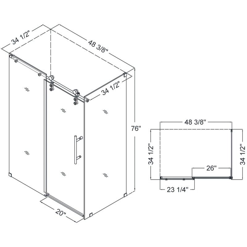DreamLine SHEN 6234480 07 Enigma Z 34 D X 48 W Frameless Glass Show