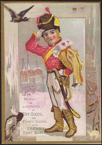 Save money on anything in dry goods, or fancy goods, go to Frear's Troy Bazaar. [front]