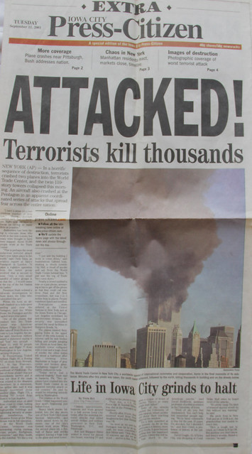 scrapbook: Attacked! 911, Iowa paper