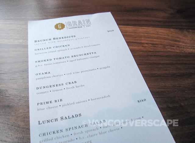 Grain Tasting Bar brunch menu