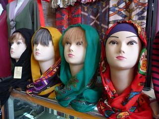 Venta de pañuelos en Irán
