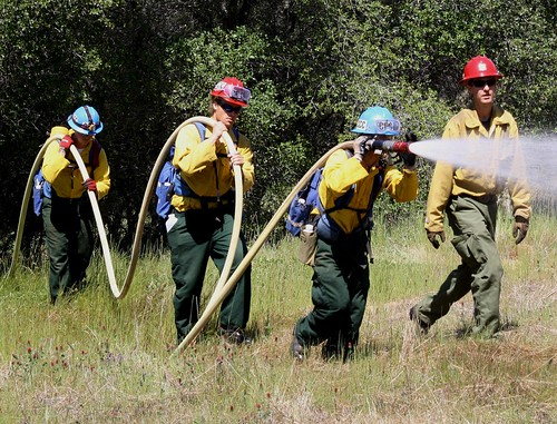 California Conservation Corps Veterans Green Jobs members receiving training and hands-on work experience in forestry and firefighting skills. (CCC photo)
