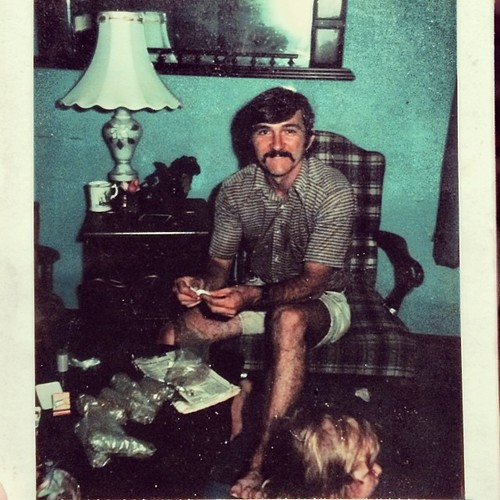 My mustached dad had a 'green' side business in 1976. I'm just hanging out too. by lucindalunacy