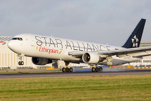 ET-ALO Ethiopian Boeing 767 Star Alliance LHR