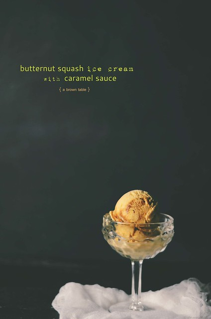 Butternutsquash caramel sauce icecream
