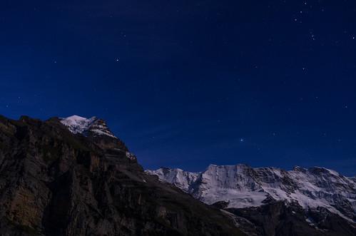 longexposure blue sky mountain snow alps night star switzerland clear jungfrau swissalps pwwinter