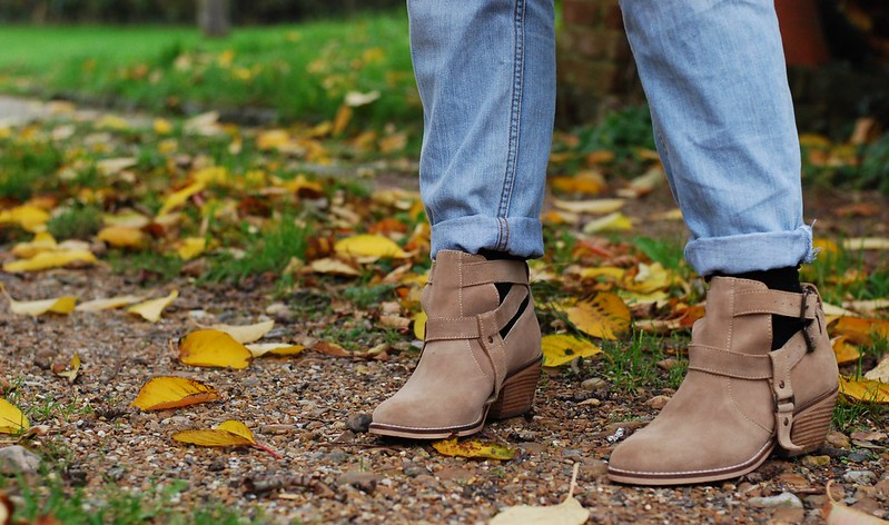 chambray and curls Topshop tan cut out ankle boots