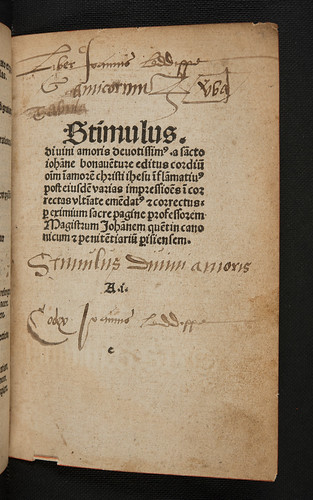 Ownership inscriptions in Bonaventura, S. [pseudo-]: Stimulus amoris