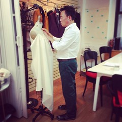 A rare witnessing of Johnny draping from scratch for a new client.