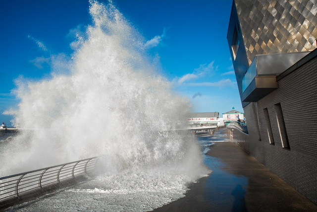 Giant waves batter the seafront in Blackpool