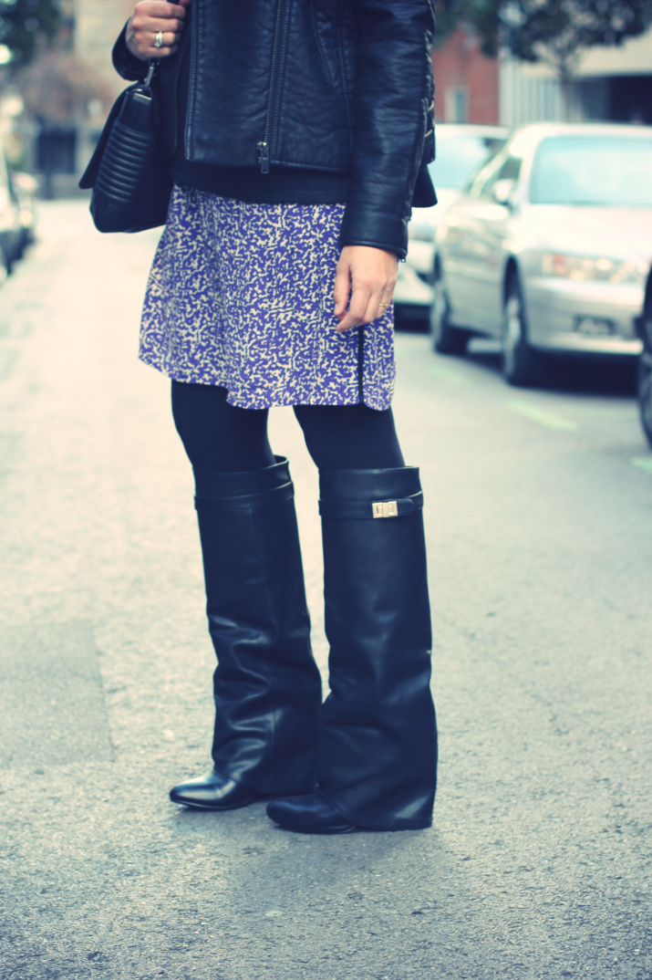 High boots + leather jacket