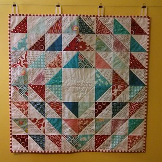 Wedding guestbook quilt is done!