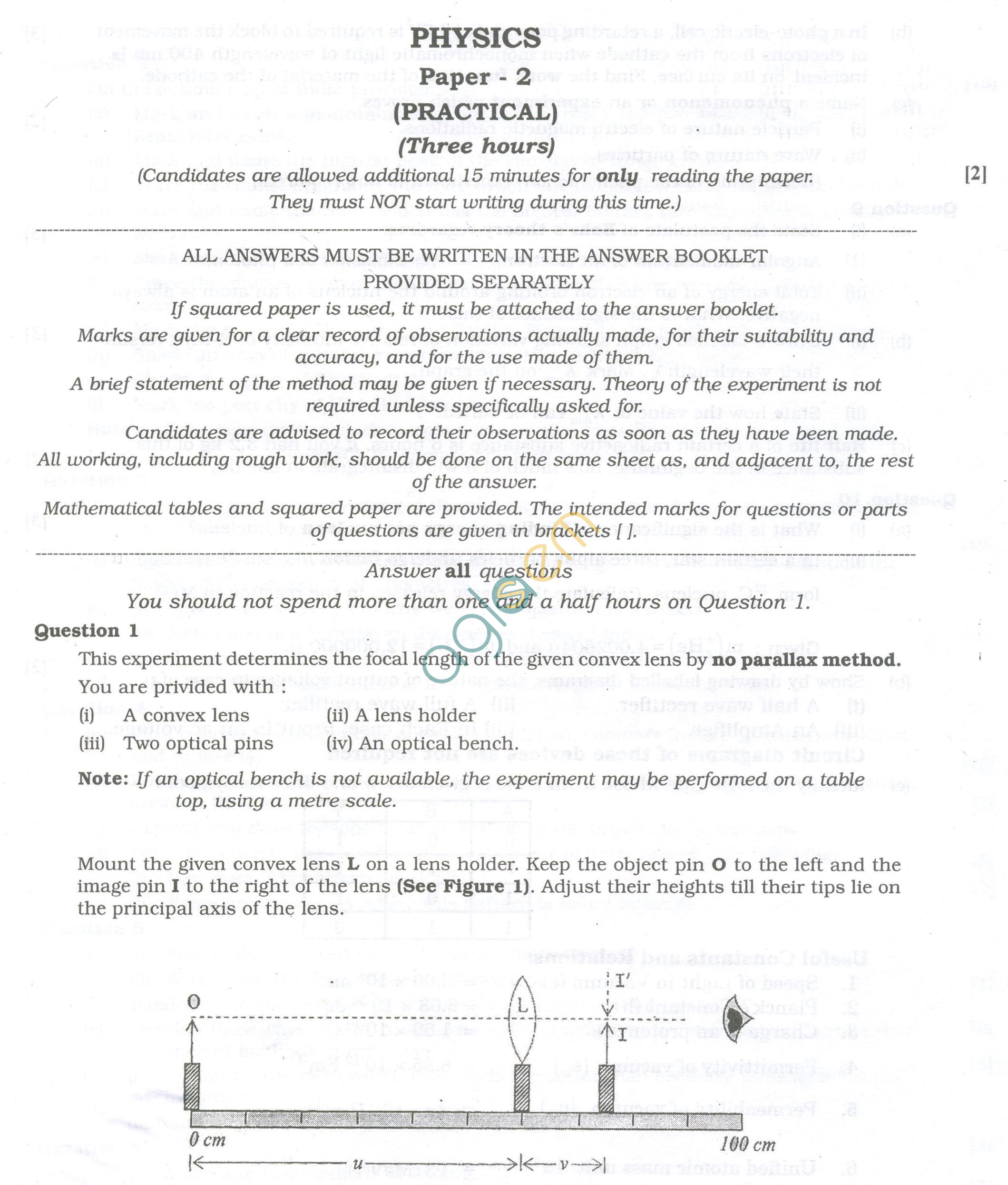 ISC Question Papers 2013 for Class 12 - Physics Practical