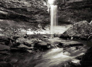Cedar Falls in black and white