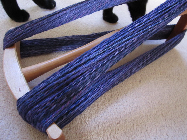 Bare Naked Knitspot spinning purple yarn Feb 2014 (4)