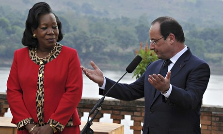 Catherine Samba-Panza and François Hollande during the imperialist leader's visit to Bangui on Feb. 28, 2014. France has thousands of troops inside the CAR. by Pan-African News Wire File Photos