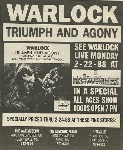 02/22/88 Warlock @ First Avenue, Minneapolis, MN