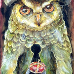 Painting Owl/ Jackdaw