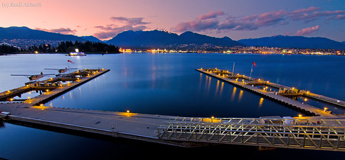 Coal Harbour airport at night