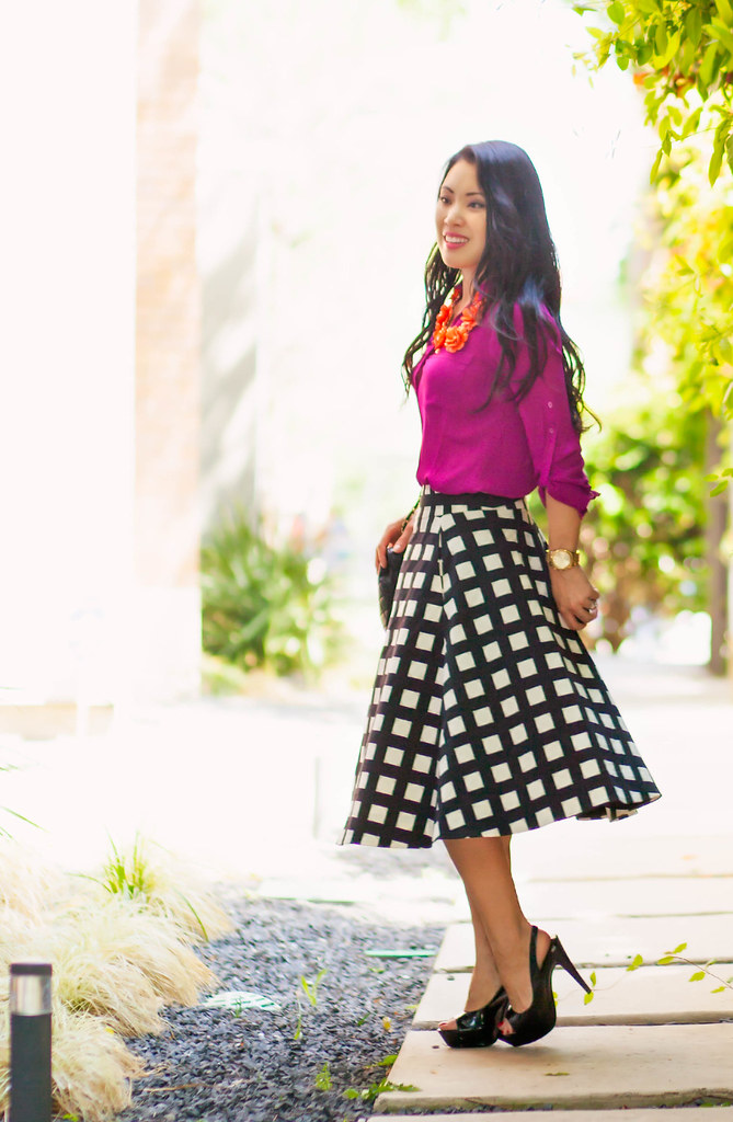 cute & little blog   petite fashion   radiant orchid shirt, kate spade windowpane checked skirt, orange flower bib statement necklace   spring outfit