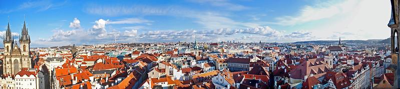 prague, skyline, panorama, town square