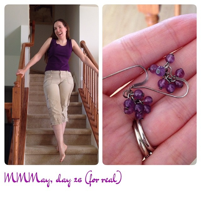 Me-mades: Top (Sadie tank by BurdaStyle), earrings. Also the same pants I wore to work earlier. #mmmay14