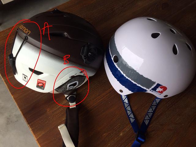 Ski helmet on left vs. skate helmet on right (A  Goggle holder  B   Removable ear pads) c5a0e38776ff