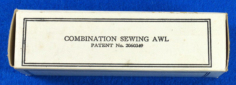 RD15044 C A Myers Co Famous Lock Stitch Sewing AWL Vintage Leather Tool in Original Box with Instructions DSC08820