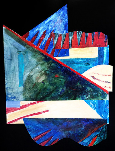 collage of acrylic-painted rag vellum on light weight card