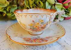 Antique Royal Doulton Burslem Porcelain Cup & Saucer ~ Floral ~ Gold
