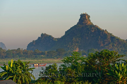 myanmar birmanie hpaan riviere river bateau boat montagne mountain bertranddecamaret ngc nationalgeographic palmier palm navigation