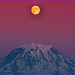 Mt Rainier with Moon sunset, Puyallup, Washington by Don Briggs